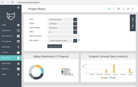The Project Status page provides the users with  an overview of the projects and the different stages they are at. With the filters users can drill down to see specific clients or projects.