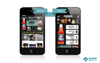 Jones Soda's website on mobile devices before and after implementing MobileOptimize