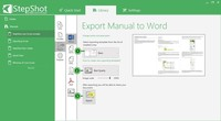 Exporting options. Choose the template (1) and set export settings such as quality and image size (2). Then export the document (3) to a specific location.  Export settings are the same for all export formats.