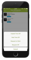 Employees can submit a time-off, request - paid, or unpaid - and can request to work or request off right from the mobile app.
