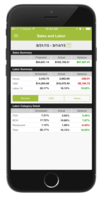 Managers can view sales and labor data from their phone.