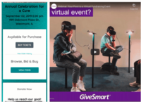 Live stream with integrated fundraising! With GiveSmart's one screen experience for live stream virtual events, fundraisers can run their program and direct donors to donate, bid, and participate in fundraising activities without leaving the presentation.