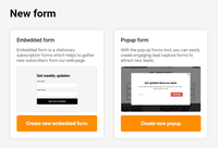 Embedded & Popup forms.