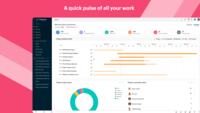 A quick pulse of all your work - The Portfolio dashboard, is a compact overview of all the work that's been happening across projects with widgets that address the project level timeline, status, ownership, budget health, and clients.