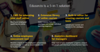 Eduson is the 5-in-1 solution: -Online learning management system (LMS) for companies -Comprehensive library of online courses  -Built-in course editor -Tool of personnel assessment -System of analytics for HR